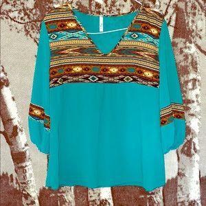 Gorgeous Aztec print Teal top
